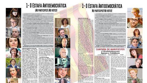 """Manifiesto contra la """"estafa antidemocrática"""" del 1-O, una """"trampa a la sociedad catalana"""""""