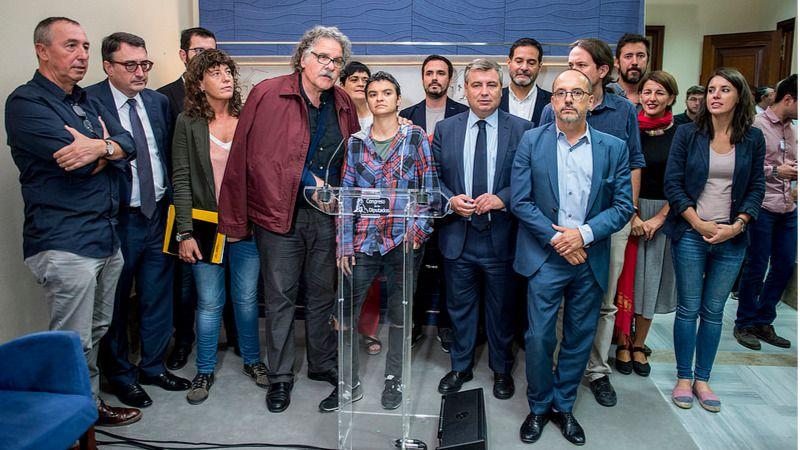 Unidos Podemos, ERC, PDeCAT, PNV, Bildu y Compromís piden la liberación de los detenidos por el referéndum