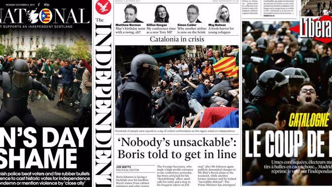 El mundo entero se avergüenza de la violencia ejercida en Cataluña y critica la actuación de España