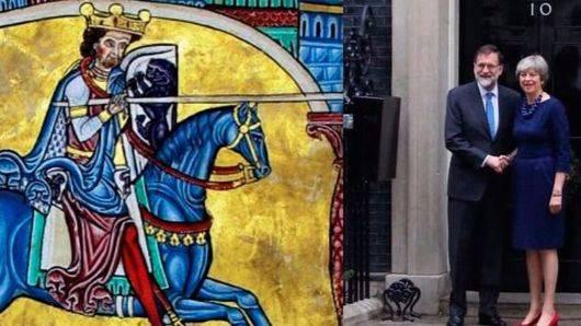 Ilustración de Alfonso XI junto a Rajoy y May
