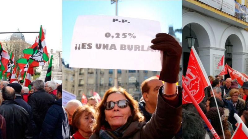 Manifestaciones de pensionistas en Euskadi, Madrid y Extremadura