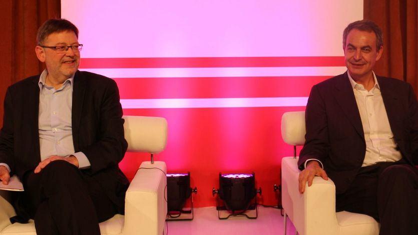 El secretario general del PSPV-PSOE, Ximo Puig, y el expresidente del Gobierno, José Luis Rodríguez Zapatero en 2014