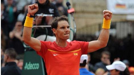 Nadal regresa con victoria ante Alemania (6-2, 6-2 y 6-3) e iguala la Copa Davis