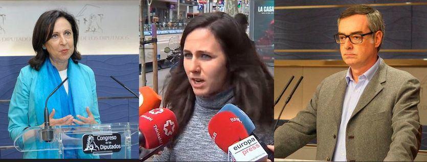 Margarita Robles (PSOE), Ione Belarra (Podemos) y José Manuel Villegas (C's)