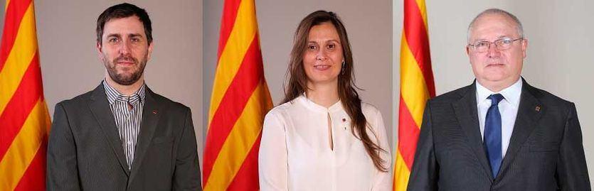 Ex consellers Toni Comín, Meritxell Serret y Lluís Puig