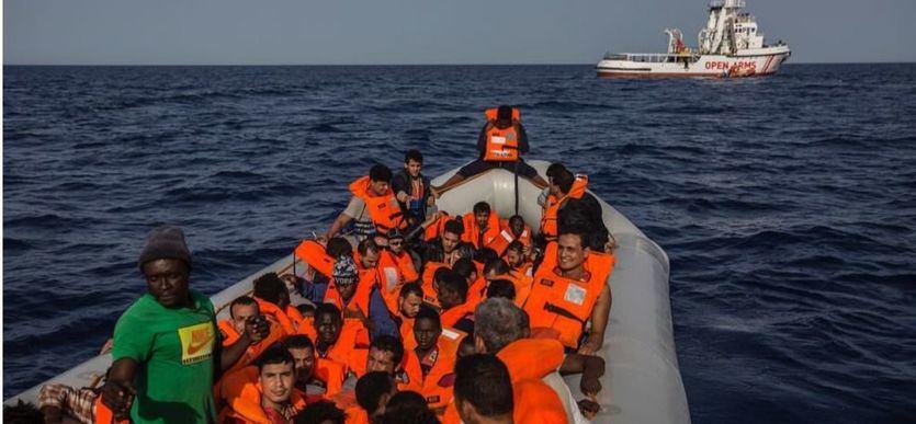 Inmigrantes rescatados por el Open Arms