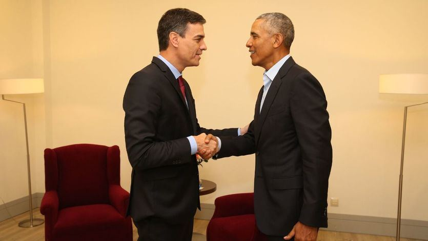 Encuentro cordial en Madrid del presidente del Gobierno Pedro Sánchez con el ex presidente de los EEUU Barack Obama