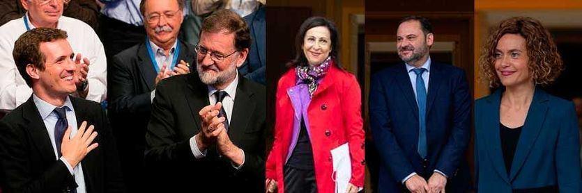 Pablo Casado, Mariano Rajoy, Margarita Robles, José Luis Ábalos y Meritxell Batet