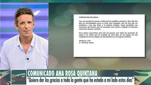 El comunicado de Ana Rosa Quintana sobre la detención de su marido