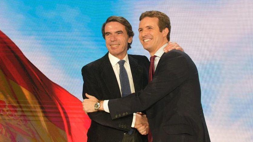 Aznar, ya sin Rajoy, vuelve a pedir el voto para el PP y se deshace en elogios hacia Casado