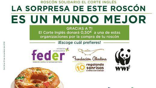 El Corte Inglés entrega 16.123 euros a Aladina, Feder y WWF gracias al Roscón de Reyes Solidario