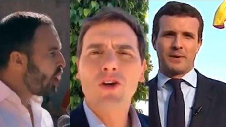 Santiago Abascal, Albert Rivera y Pablo Casado
