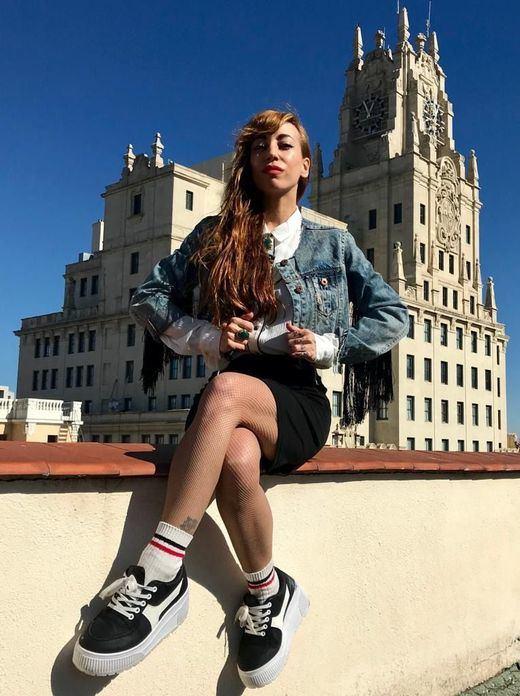 Mónica Moss en la terraza de la redacción de Madridiario y Diariocrítico