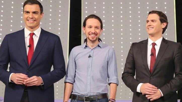 Sánchez, Iglesias y Rivera, en el debate de 2015