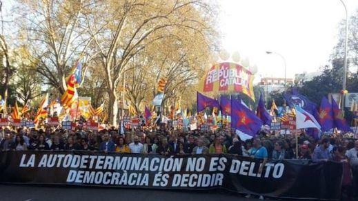 Los independentistas catalanes hacen una demostración de fuerza en Madrid