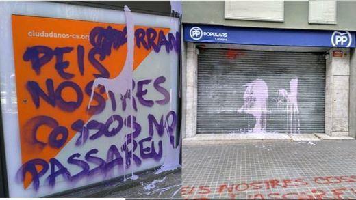 Cs y PP denuncian el ataque de Arran a sus sedes en Barcelona