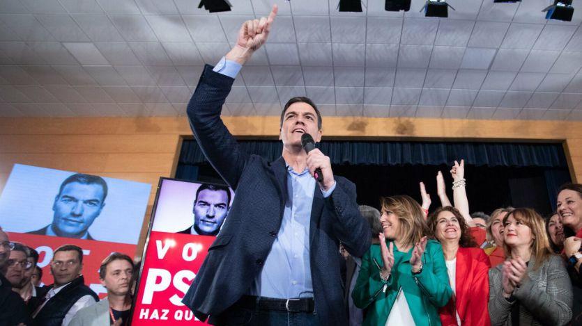Pedro Sánchez en el acto de apertura de campaña en Sevilla