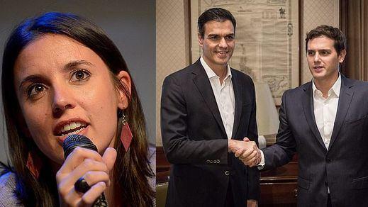 Podemos agota la campaña alertando sobre el pacto oculto del PSOE y Cs