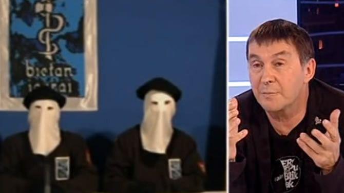La realización de TVE no dudó en poner imágenes de etarras junto al plano de Otegi en varios momentos de la entrevista