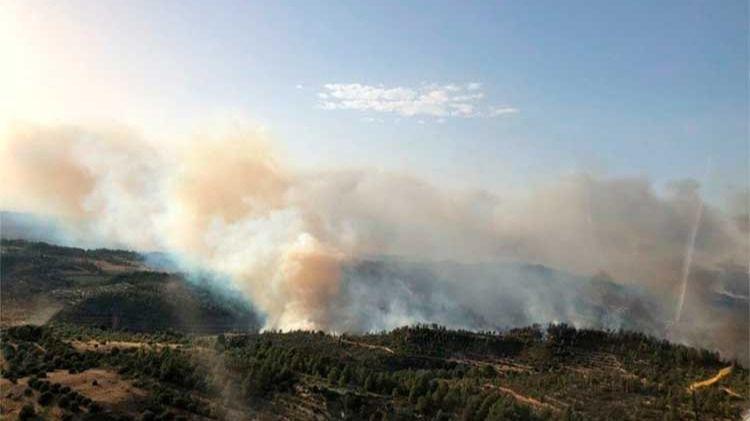 El incendio en la Ribera del Ebro sigue activo y sin controlar, pero al menos está acotado