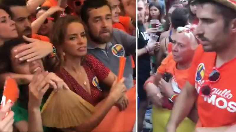 A la izquierda, los dirigentes de Cs Inés Arrimadas, Patricia Reyes y Miguel Gutiérrez, increpados en primera línea de la manifestación. A a la derecha, incidentes con los manifestantes de Ciudadanos