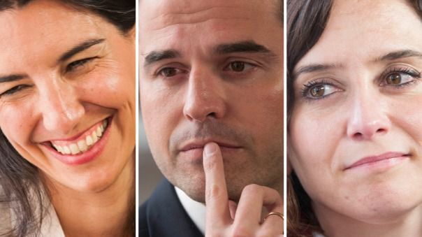 Rocío Monasterio (Vox), Ignacio Aguado (Cs) e Isabel Díaz Ayuso (PP), en imágenes de archivo