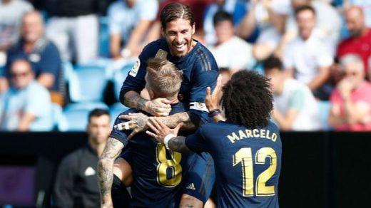 El Madrid se sobrepone a todas las desgracias y gana al Celta con un equipo añejo y con 10 (1-3)