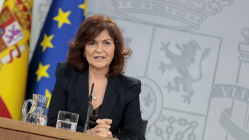 La vicepresidenta del Gobierno y ministra de la Presidencia, Relaciones con las Cortes e Igualdad, Carmen Calvo, durante la rueda de prensa posterior al Consejo de Ministros.