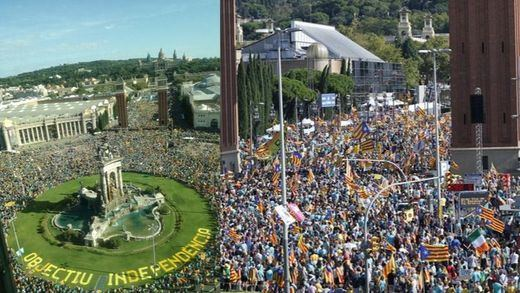 Una multitudinaria manifestación reclama unidad a los partidos independentistas en la Diada