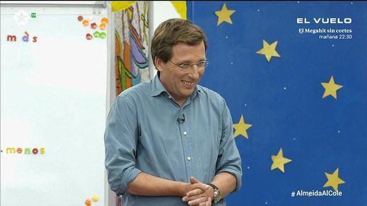 Almeida la lía contestando a las preguntas de niños de primaria en Telemadrid