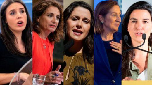 Irene Montero, María Jesús Montero, Inés Arrimadas, Ana Pastor y Rocío Monasterio