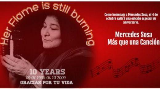 Diez años ya sin Mercedes Sosa: tendrá un doble homenaje con libro de Anette Christensen y actuación de Laura Granados (vídeo)