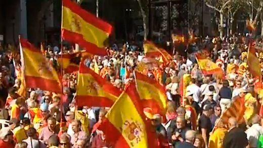 PSOE, PP, Ciudadanos y Vox se unieron en la marcha convocada por Sociedad Civil Catalana