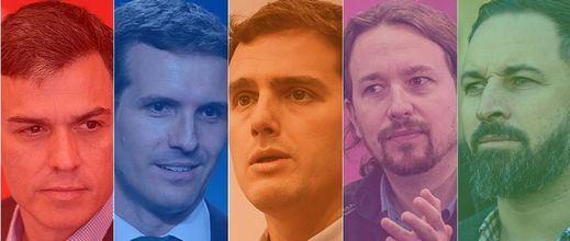 Así llegan los cinco candidatos al debate electoral del 10-N