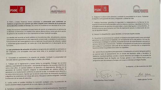 Lo que dice el acuerdo PSOE-Podemos sobre el conflicto en Cataluña