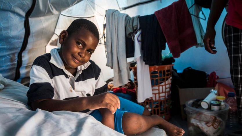 Alil Harris, 5 años, desplazado en Antigua y Barbuda tras el paso del devastador huracán Irma de 2017