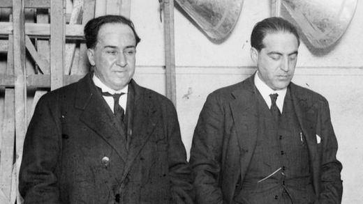 Antonio Machado, a la izquierda, junto a Gregorio Marañón