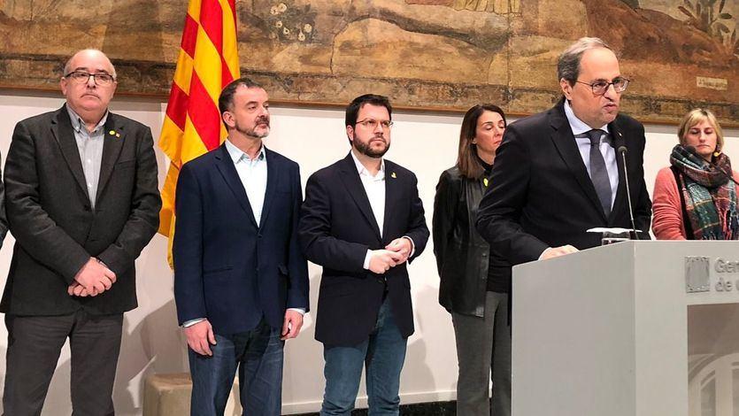 La Generalitat y cientos de ciudadanos protestan tras la inhabilitación de Torra