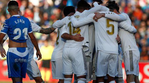 El Madrid resuelve a balón parado un vulgar partido en Getafe (0-3)