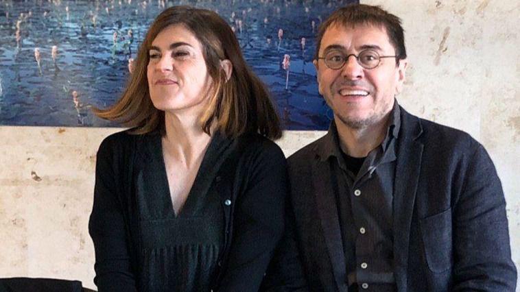 Miren Gorrotxategi, junto a Monedero, que le apoyó en su campaña