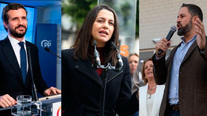 Pablo Casado, Inés Arrimadas y Santiago Abascal