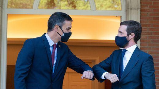Sánchez y Casado chocan con los Presupuestos, pero acuerdan crear una Agencia para la Recuperación y un Pacto en Sanidad