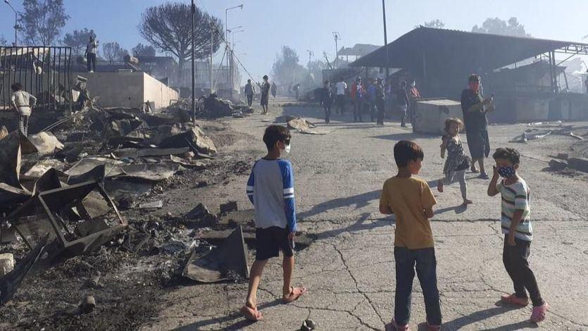 Incendio en el campo de refugiados de Moria (Lesbos)