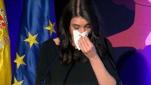 Irene Montero se emociona y rompe a llorar en un acto contra la violencia de género