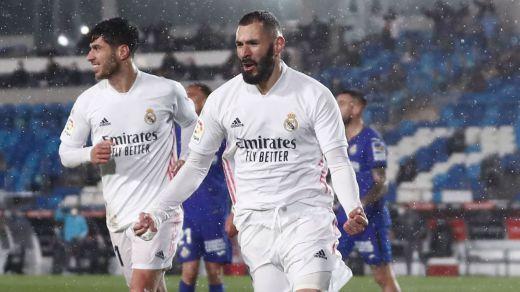 El Madrid se pone provisionalmente a 5 puntos del Atleti tras superar al Getafe (2-0)