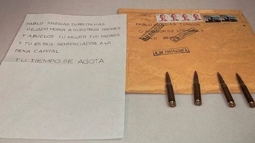 Envían cartas amenazantes a Pablo Iglesias y Grande Marlaska con balas en su interior