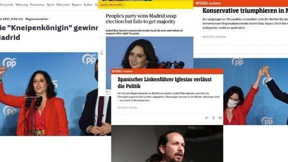 La prensa internacional se hace eco de las elecciones madrileñas y Ayuso, a quien llaman 'la reina del Pub'