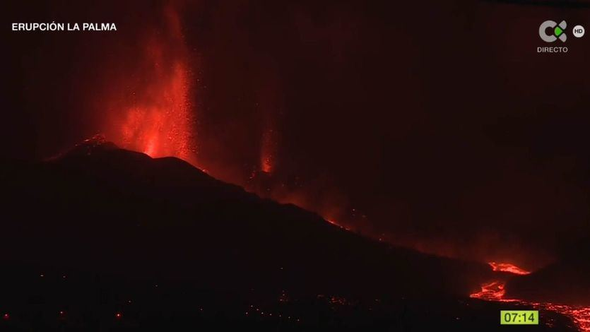 El volcán de La Palma, en erupcion