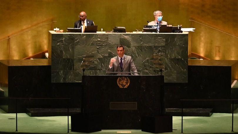 El presidente del Gobierno, Pedro Sánchez, ha intervenido en el Debate General del 76º periodo de sesiones de la Asamblea General de Naciones Unidas (ONU).
