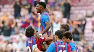 Ansu Fati celebra un gol